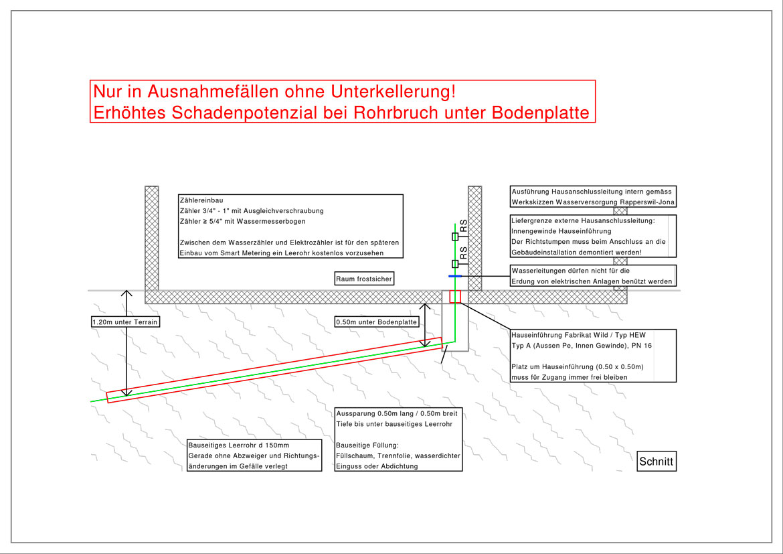 Wasserversorgung Rapperswil-Jona - Hausanschlussleitung